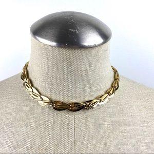 Vintage Gold Leaf Pattern Choker Style Necklace